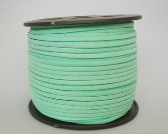 Faux Suede  Cord Leather Flat  Pale Green 3x1.5mm-20ft