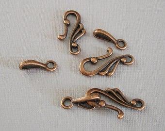 10-Hook Clasp S Shape Hook Clasps Antique Copper  Clasp