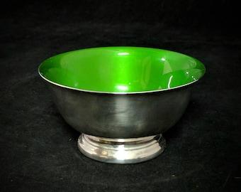 "Mid Century Reed & Barton #101 Silverplate Green Enamel 4-3/8"" Bowl"