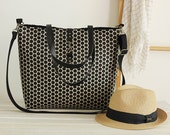 LARGE, Waterproof jacquard,  black polka dot tote / diaper bag / shoulder bag / hand bag with detachable strap  Design by BagyBags