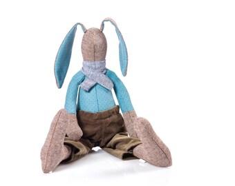 Easter bunny doll , fabric Doll  , stuffed rabbit , rabbit plush toy , toddler gift , ragdoll toy , soft doll , huggable toy , boy gift