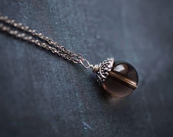 Smoky Quartz Necklace, Steel Necklace, Brown Necklace, Quartz Necklace, Minimalist, Smoky Quartz, Smoky Quartz Pendant
