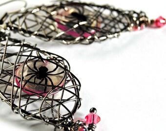 spider earrings,caught in my web, goth earrings , neon earrings, gifts under 20