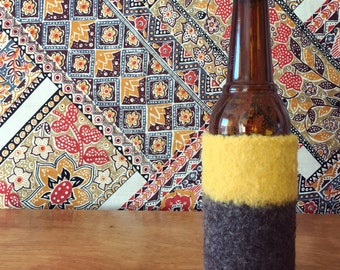 Felted Bottle Cozy - Color Block Collection - Yellow & Brown