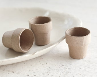 Mini Paper Mache Flower Pots - 2 Inch Pressed Cardboard Plant Pots, Set of 3