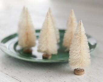 Undyed Sisal Trees - Set of 6 Natural Cream 4 Inch Bottle Brush Trees