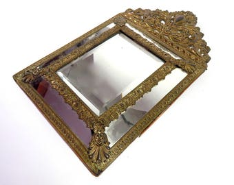 Ornate French Antique Mirror with Bronze Decoration and Beveled Glass