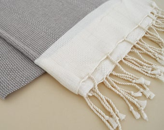 SALE 50 OFF/ Turkish Beach Bath Towel Peshtemal / Beige / Wedding Gift, Spa, Swim, Pool Towels and Pareo