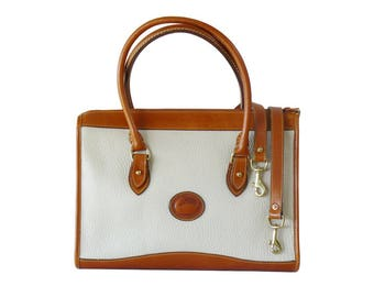 Dooney & Bourke Bone and British Tan AWL Satchel Tote Briefcase Shoulder Bag XL