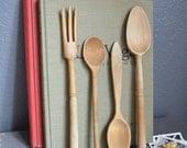 Collection of Wooden Vintage Kitchen Utensils Vintage Kitchen Vintage Spoon Vintage Fork Wooden Kitchen Utensils Decor Display Serving