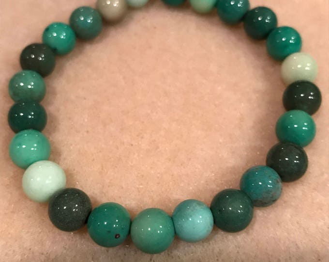 Chrysoprase 8mm Round Stretch Bead Bracelet with Sterling Silver Accent