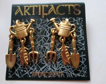 Vintage Signed JJ Jonette Earrings gardening garden - unique gift jj under 20 - Artifacts made in the USA - jj collectible