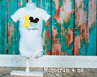 Baby Mickey Mouse birthday shirt bodysuit - Party hat - Disney Shirt - 1st Birthday