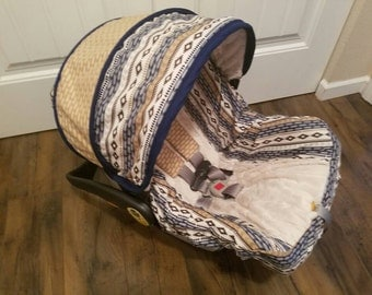 Tribal car seat cover / baby car seat cover/ Made for only Chicco/ Evenflo seat / Slipcover,canopy and strap covers  SHIPS TODAY!