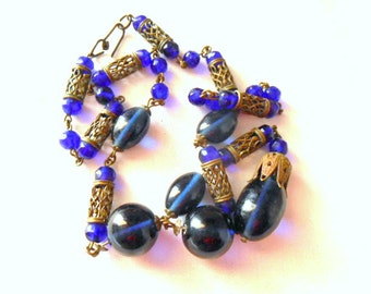 Vintage colbalt blue and antique brass Y necklace
