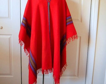 ON SALE........Vintage red woven WOOL Ethnic  fringed blanket Poncho