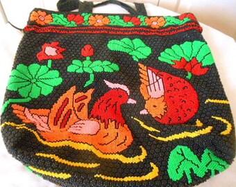 Vintage 60's Chicken  beaded dot drawstring Bag