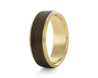 Native Chunk Oval Carat - 9ct Yellow Gold & Wood Ring