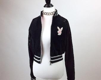 90's Playboy Leather Bunny Logo Black Pink Side Stripe Jacket // S - M