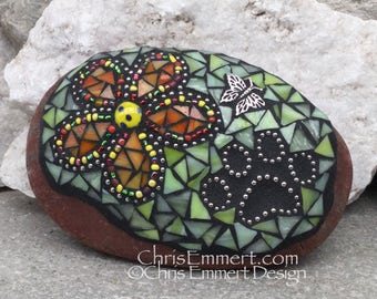 Orange Flower w/Green, Black Paw Print - Garden Stone, Pet Memorial, Garden Decor'