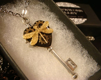 Dragonfly with Gears Small Skeleton Key Steampunk Style Necklace (2334)