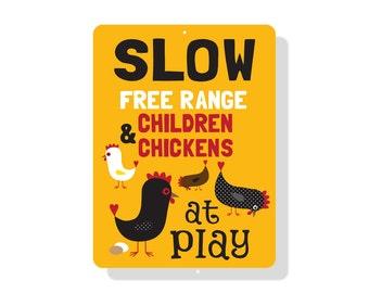 "SLOW Free Range Children & Chickens at Play Sign 9"" X 12"" Mustard"