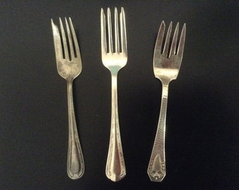 Vintage Dessert Forks/Salad Forks, 1847 Rogers Bros., WORLD Brand, H&T Mfg Co, set of 3