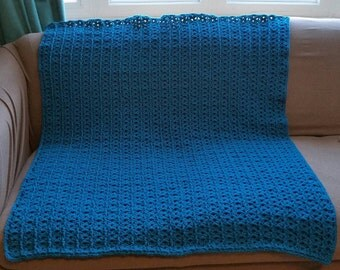 Teal Textured Shell Crocheted Lap Throw- Ready to Ship