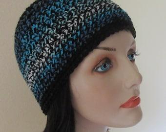 Black Blue Beanie, Cold Weather Hat, Ski Hat, Hockey Mom, Snow Playing, Blue Snow Hat, Black Snow Hat
