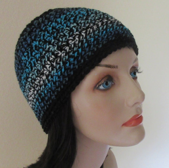 Black Blue Beanie, Cold Weather Hat, Ski Hat, Hockey Mom, Snow Playing, Blue Snow Hat, Black Snow Hat