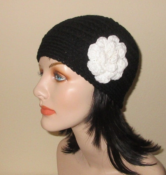 Black Beanie with Attached White Flower, Crochet Cloche, Cold Weather Accessory, Black and White Hat, Flapper Hat, Winter Weather Beanie