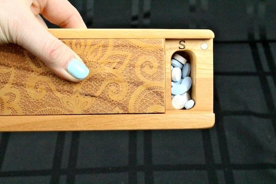 Lace Pattern Cherry Vitamin Box, V14, Days of the Week, Wooden Pill Box, Medium Depth, Paul Szewc, Masterpiece Laser