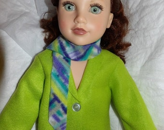Solid lime green Fleece coat & scarf set for 18 inch dolls - ag320