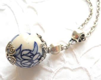 delft blue style pendant necklace delft blue jewelry delft delft blue necklace blue necklace pendant necklace