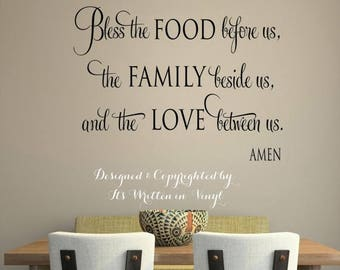 20% off Bless the food before us   faith-Vinyl Lettering wall words graphics Home decor itswritteninvinyl