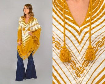 Mexican Knit FRINGED Poncho