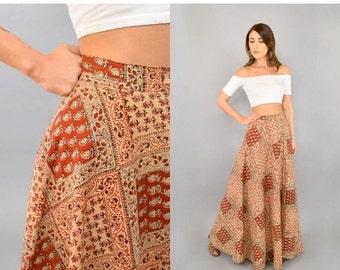 FEBRUARY SALE 70's Bohemian INDIA Cotton Maxi Skirt