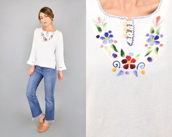 70's Embroidered Bell Sleeve Blouse