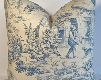 Indigo Blue Toile English Country Scene Decorative Pillow Covers Both Sides, French Country throw pillow  accent pillow