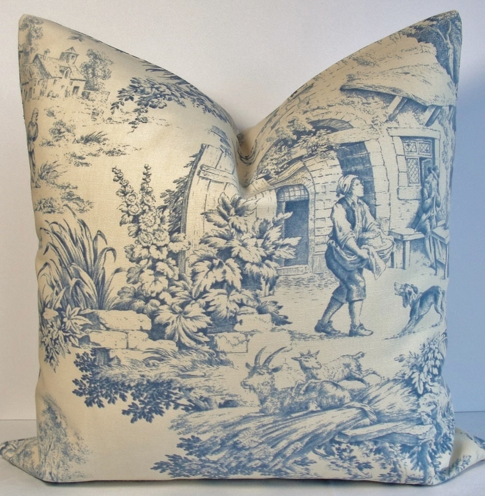 indigo blue toile english country scene decorative pillow. Black Bedroom Furniture Sets. Home Design Ideas