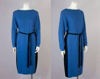 80s Vintage ST. JOHN for SAKS Blue & Black Long Sweater Dress (S, M)