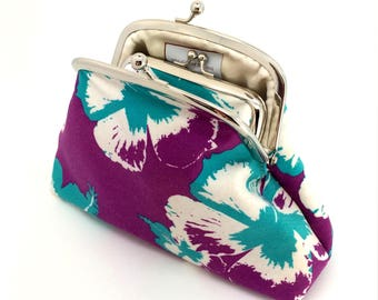 Hawian Coin Purse Wallet Clutch White Turquoise Flower Purple Kiss Lock Double Frame Silver