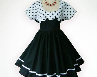 Black N White Memories 50s Pin up Rockabilly Swing Dress Full Swing Skirt