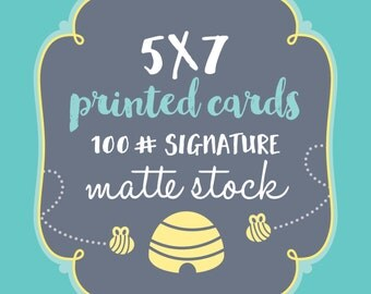 10, 5x7 Printed Cards or Invitations: Baby Shower Invitations, Birthday Invites, Save the Dates, Christmas Cards, envelopes included