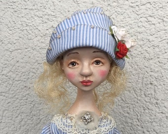 Art doll Be my Valentine OOAK doll Collecting doll Air dry clay doll Clay doll Paper clay doll Human figure doll