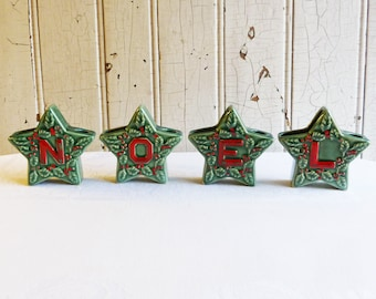Vintage Lipper & Mann Star NOEL Candle Holder Set - Green with Handpainted Holly Berries - Made in Japan 1950s - Christmas Decoration