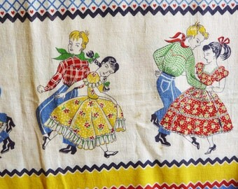 Vintage Square Dance Feed Sack Fabric - Genuine Feedsack, Opened - Mid-Century 1940s or 1950s - Fabric for Quilting or Home Decorating