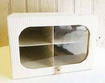 Vintage Ribbed Vinyl Shoe Storage Box - Wardrobe Closet Storage  - Hinged Lid with Window - Model Home by Enrich - Mid-Century 1950s