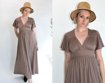 Vintage 70's Grey Purple Cape Sleeved Maxi Dress Spring/Summer Women's Medium Large Retro/Hippie/Boho