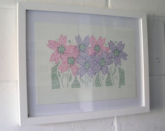 Original Art Drawing,  Pink and Purple Flowers, Ink Drawing
